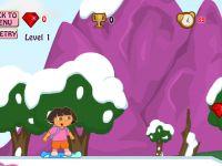 Dora beim Snowboarden